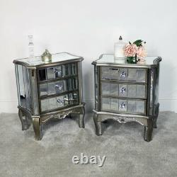 Pair mirrored bedside tables bedroom living room furniture French shabby chic