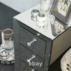 Pair of Mirrored Glass 3 Drawers Bedside Cabinet Crystal Table Bedroom Durable
