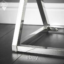 Rose Gold Mirrored Console Table 3D Glass Design Chrome Legs Bedroom Furniture