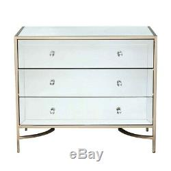 Rose Gold Trim Mirrored Bedroom Furniture Chest of 3 Drawers