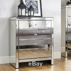 Seville Mirrored Bedroom Chest of Drawers with 4 Large Storage Drawers