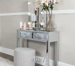Silver Mirrored Dressing Table with Drawers Venetian Glass Bedroom Hallway Chic