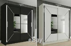 Sliding Modern Bedroom Double Door Wardrobe 2 Colours 4 Sizes with Led Light