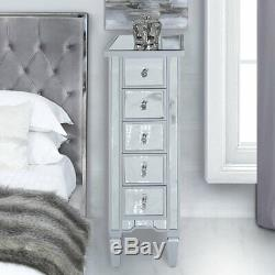 Slim 30cm Georgia Silver Mirrored 5 Drawer Tallboy Bedroom Cabinet Chest Drawers