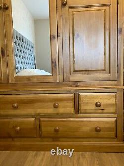 Solid Pine Triple Mirrored Wardrobe, Chest Of Draws And Two Bedside Cabinets