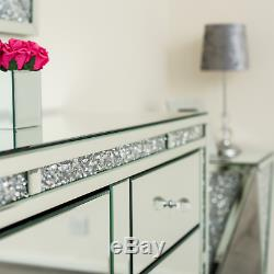Sparkling Luxury Mirrored Chest Drawer Glass Sideboard Bedroom Cabinet Furniture