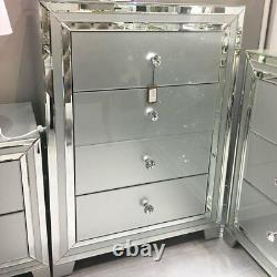 Sparkling Madison Grey Mirrored Glass Trim Bedroom Chest 4 Drawer Cabinet Table
