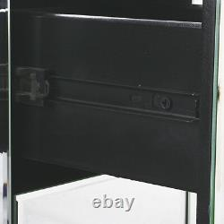 Sparkling Mirrored Glass Bedroom Table 3 Drawers Crushed Crystal Bedside Cabinet
