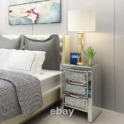 Sparkly Mirrored Glass Bedside Table Crystal 3 Drawers Cabinet Bedroom Furniture