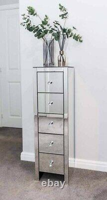 Tall Boy Mirrored Bedside Cabinet Chest Unit 5-Drawer Bedroom Glass Silver Table