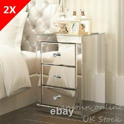 UK 2X Mirrored Glass Bedside Tables Pair of Nightstands Drawers Cabinets Bedroom
