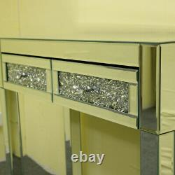 UK Mirrored Glass 2 Drawers Diamond Dressing Table Console Make-up Desk Bedroom