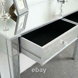UK Mirrored Glass 2 Drawers Dressing Table Console Make-up Desk Bedroom