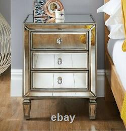 VENETIAN Mirrored Mirror Bedside Bed Side Table Cabinet 3 Drawer Bedroom Cabinet