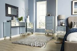 Valencia Mirrored Bedroom Furniture Wide Narrow Chest of Drawers Bedside Cabinet