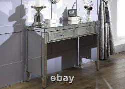 Valencia Mirrored Glass 2Drawer Sideboard Contemporary Storage Bedroom Francesca