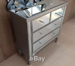 Valetta Large mirrored / wood chest of drawers multi 4 drawer bedroom furniture