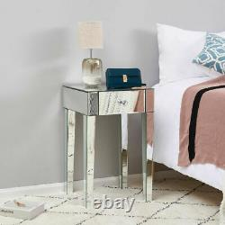 Vanity Bedroom Glass Mirrored Bedside Table Nightstand Cabinet with 1 Drawer UK