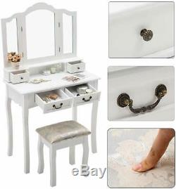 Vanity Dressing Table Makeup Desk with Round Mirror&4 Drawers, Stool White Bedroom