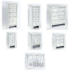 Venetian Mirrored Bedroom Furniture Wide Narrow Chest of Drawers Bedside Cabinet