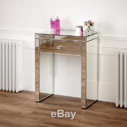 Venetian Mirrored Compact 1 Drawer Console Table Bedroom Furniture VEN16