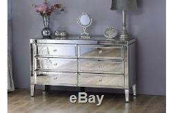 Venetian Mirrored Low Wide 6 Drawer Chest / Mirror Finish Bedroom Furniture