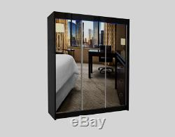 Wardrobe 3 Sliding Mirrored Doors, 2 drawers Modern Bedroom Furniture MRDE 180cm