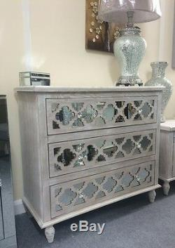 Washed Ash Wood Chest Of Drawers With Mirrored Front, Mirrored Bedroom Drawers