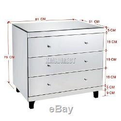 WestWood Mirrored Furniture Glass With Drawer Chest Cabinet Table Bedroom New