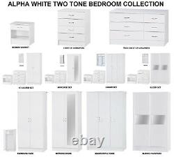 White 3 PIECE Bedroom Furniture Units & Set Wardrobe Chest Bedside FREE DELIVERY