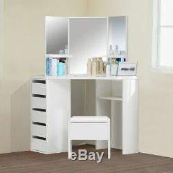 White Curved Dressing Table Makeup Desk 5 Drawer 3 Mirror&Stool Bedroom Modern