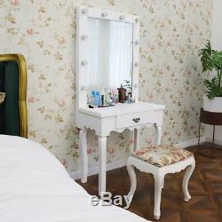 White Dressing Table, LED Bulbs Mirror Set Bedroom Makeup Desk Hollywood Style