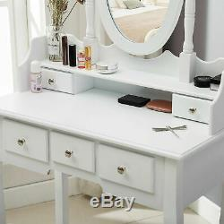 White Dressing Table One Mirror Stool Set 5 Drawer Bedroom Makeup Desk Lady