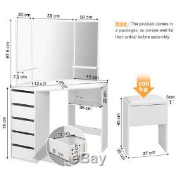 White Dressing Table Stool Vanity Makeup Desk with 3 Mirror & 5 Drawers Bedroom UK