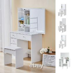 White Dressing Table Vanity Set with Mirror Stool Desk MDF Bedroom Furniture UK