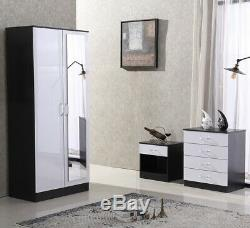 White Gloss Bedroom Furniture Mirrored Wardrobe. Available as Set or Separately
