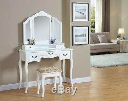 White Ivory Black Dressing Table with Stool 5 Drawers and 3 Panel Mirror Bedroom