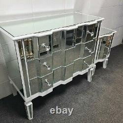 White Wood Trim Mirrored Glass Chest of 3 Drawers Mirror Bedroom Furniture